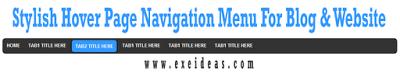 Stylish Hover Page Navigation Menu For Blog & Website