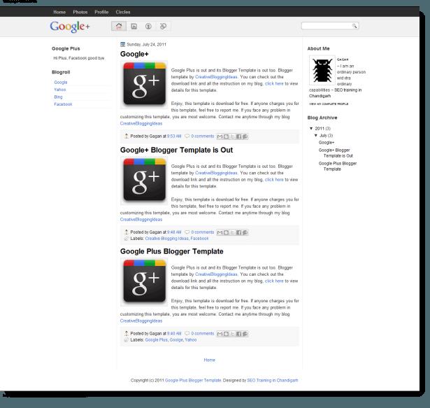 Free Google Plus Blogger Template