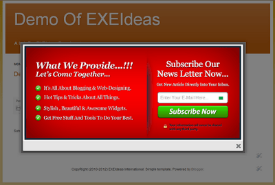 Stylish EXE-Style POP-UP v1 Widget For Blog And Website.