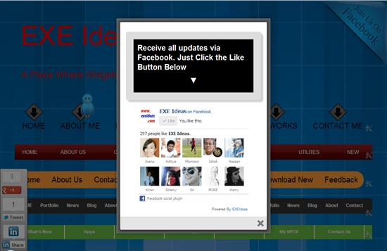 Stylish LightBox POP-UP Facebook Like Box [Updated] Widget For Blog & Website