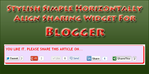 Stylish Simple Horizontally Align Sharing Widget For Blogger