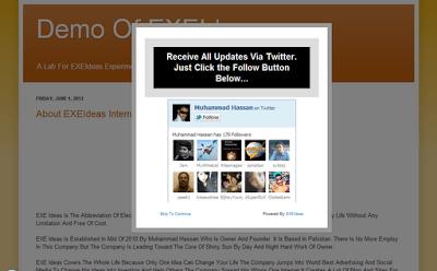CSS-LightBox POP-UP Twitter Follow Box Widget For Blog & Website
