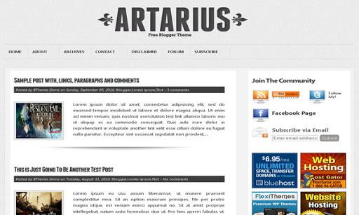 Free Artarius Blogger Template