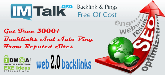 Get Free 3000+ Backlinks And Auto Ping From Reputed Sites - EXEIdeas