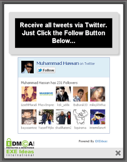 Stylish LightBox POP-UP Twitter Follow Box Widget For Blog & Website