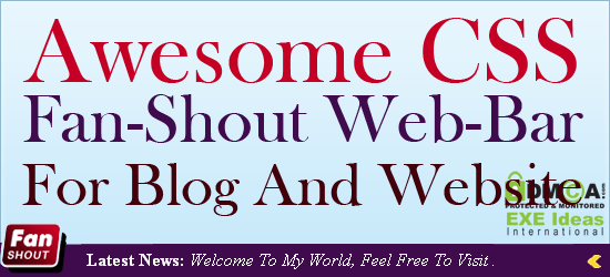 Awesome CSS Fan-Shout Web-Bar For Blog And Website