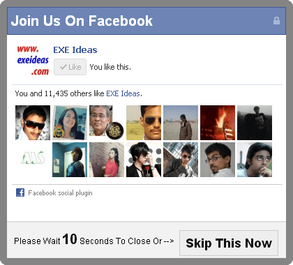 Facebook Like Box POP-UP With Timer