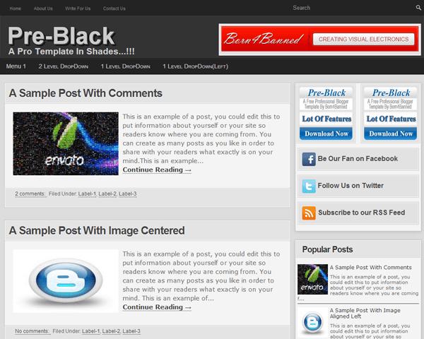 Pre-Black-A Free Pro-Blogger Template