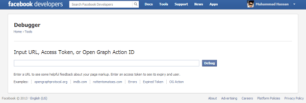 Facebook Debugger Tool ScreenShoot