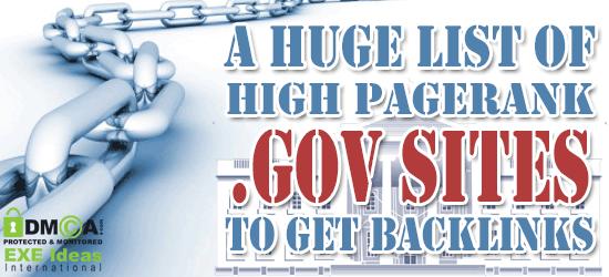 A Huge List Of High PageRank .GOV Sites To Get Backlinks