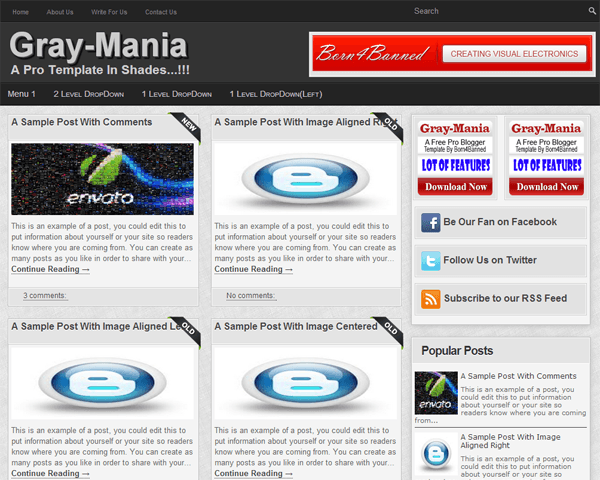 Gray-Mania Blogger Template