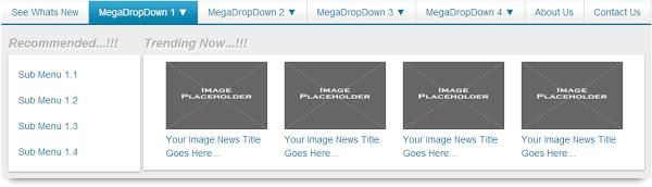 CSS Mega Drop Down Menu With Links And Thumbnail