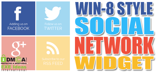 Win 8 Style Social Network Widget For Blogger And Website Sidebar Exeideas Let 39 S Your Mind Rock