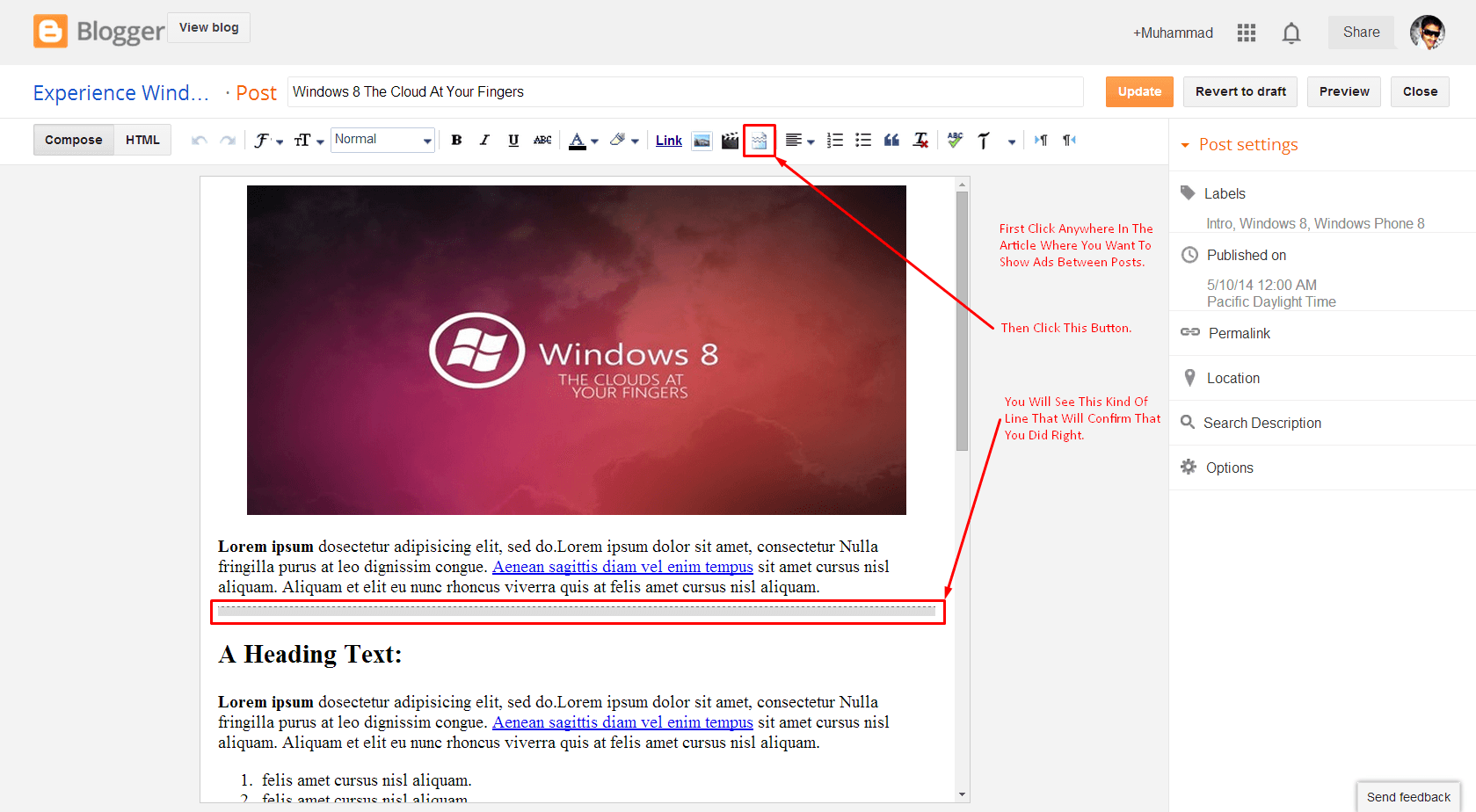How To Show Ads In Middle Of All Post In Blogspot Blog?