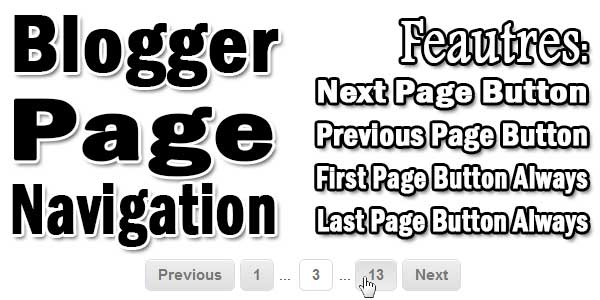 Page Navigation With (Next/Prev) For Blogger