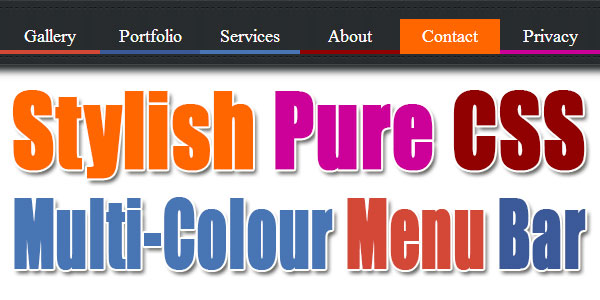 Stylish Pure CSS Multi-Colour Menu Bar For Blog And Website