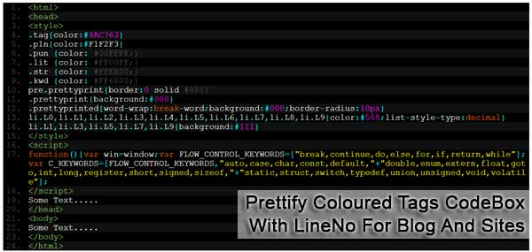 Prettify Coloured Tags CodeBox With LineNo For Blog And Sites