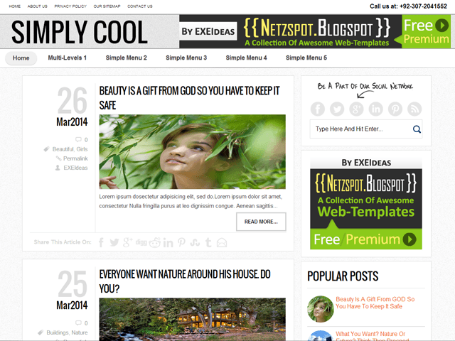 Simply-Cool: A Free Premium Responsive Blogger Template