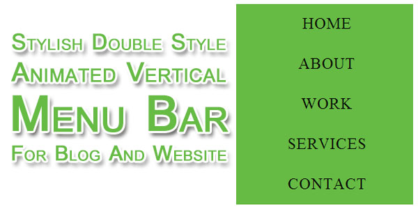 Stylish Double Style Animated Vertical Menu Bar For Blog And Website