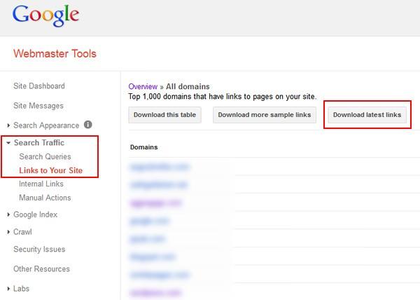 Google's WebMaster Tools Newest Inbound Links