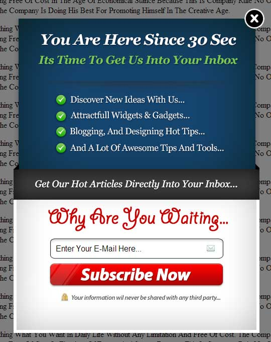Gorgeous EXE-Style POP-UP V-4 Widget For Blog And Website