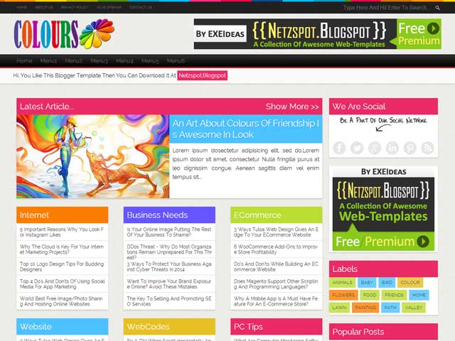 Colours a free premium responsive blogger template for Free html blog templates