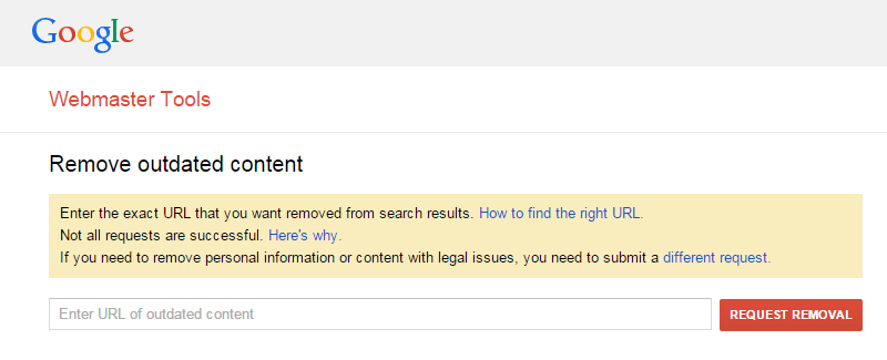 Google WebMaster Removal Outdated Content