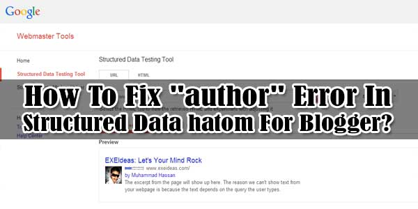 "How To Fix ""author"" Error In Structured Data hatom For Blogger?"