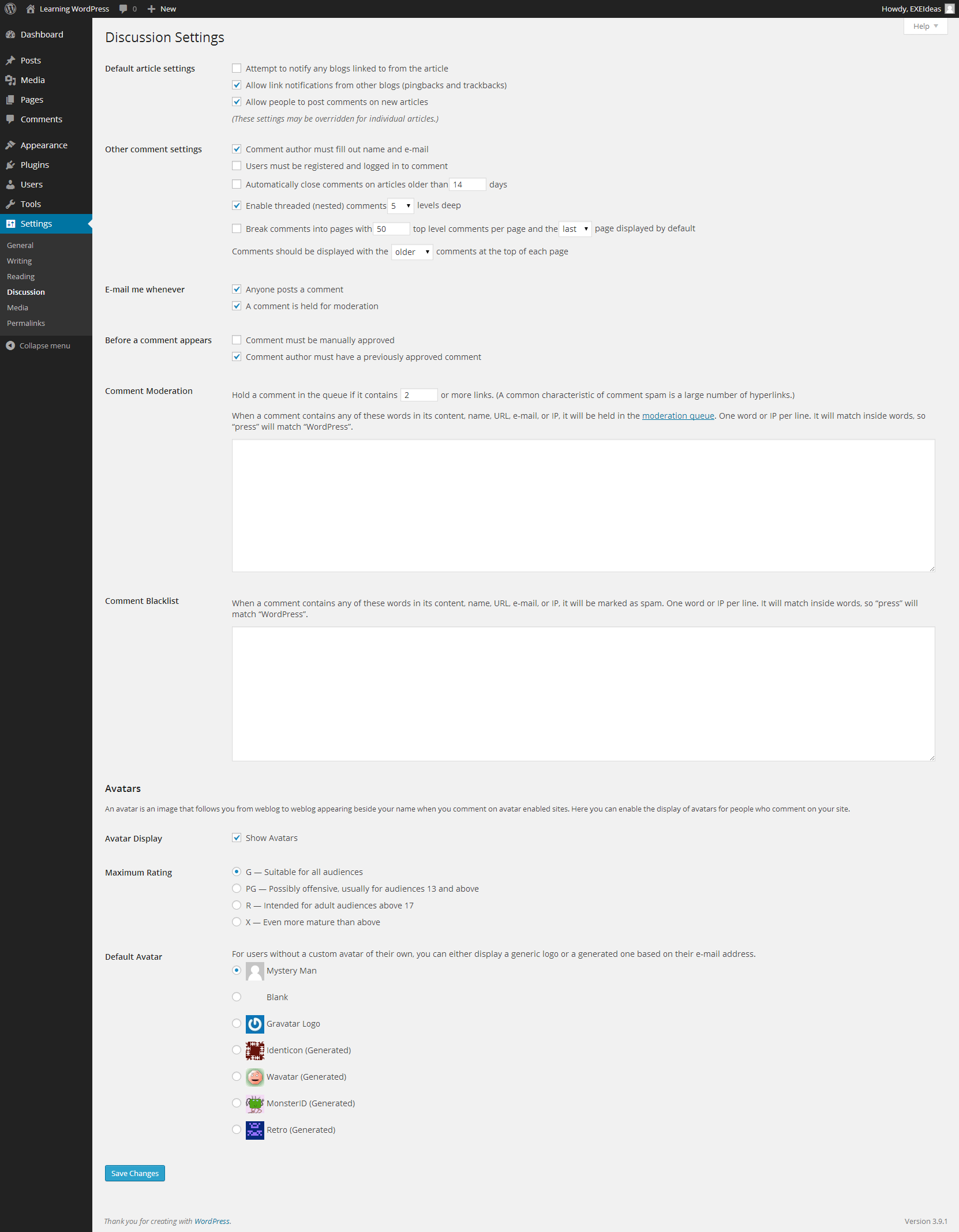 WordPress-Recommended-Discussion-Settings