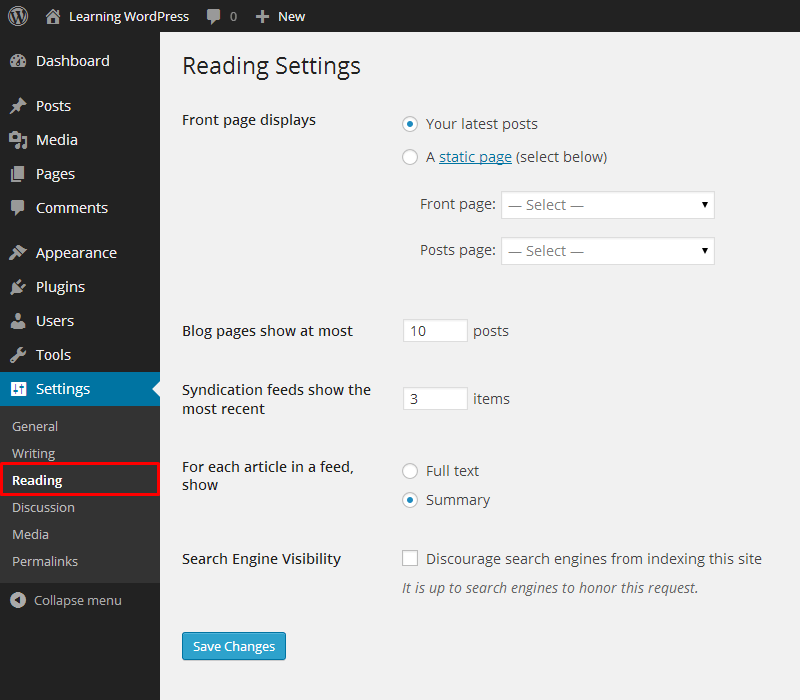 WordPress-Recommended-Reading-Settings