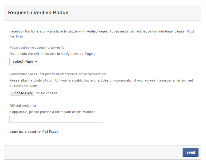 Facebook Request A Verified Badge Form