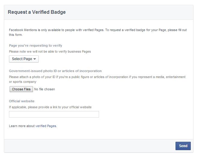 Facebook FanPage Verification Official Request Form Link