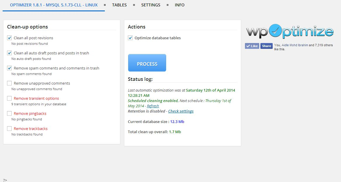WP-Optimize Database Cleanup and Optimization Plugin