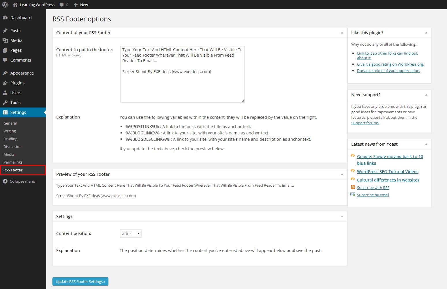 RSS-Footer-Plugin-Option