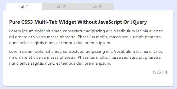 Pure-CSS3-Multi-Tab-Widget-Without-JavaScript-Or-JQuery