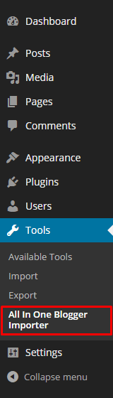 All-In-One-Blogger-Importer-Plugin-Tools-Page-Menu