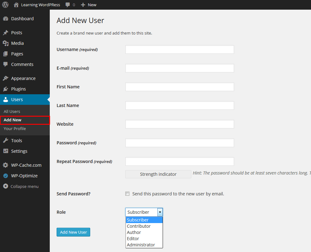 Add New User In Your WordPress Blog From Admin