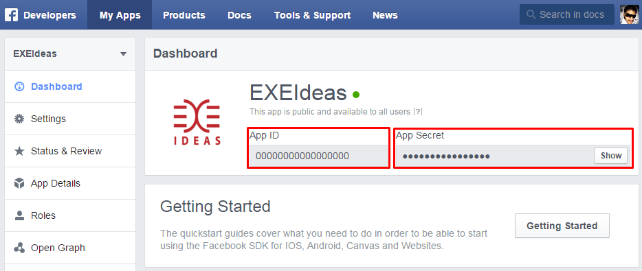 Facebook-Apps-And-Secret-ID