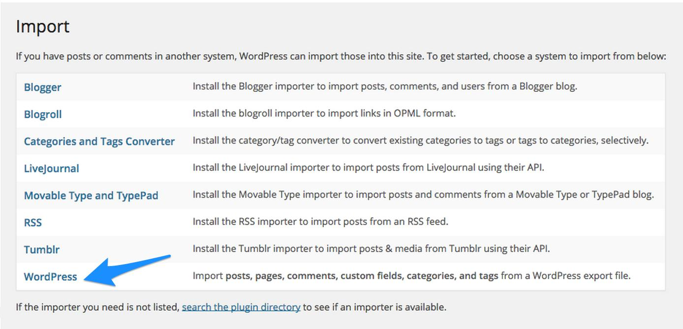 WordPress-Import-WordPress