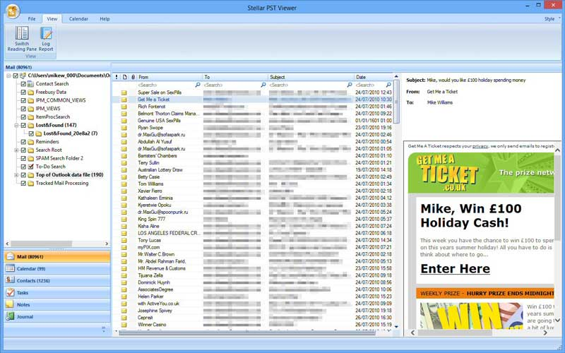 Stellar PST Viewer: Free Software To Scan, View And Save
