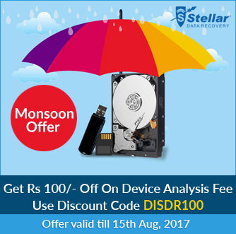 Monsoon Offer - Stellar Data Recovery is offering Rs 100- OFF on Device Analysis Fee.
